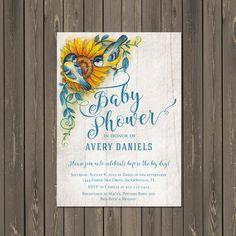 Bird Baby Shower Invitation, Sunflower Baby Shower Invitation, Feather the Nest, Bless the Nest, Gender Neutral, Printable or Printed