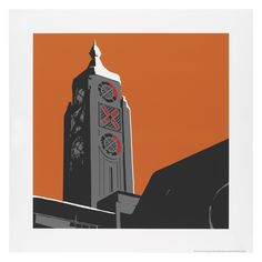 Oxo Tower Print by Jayson Lilley - - Orange Wall Art, Orange Walls, Orange Orange, Wall Prints, Canvas Prints, Orange Home Decor, Office Themes, Paper Wall Art, London Landmarks