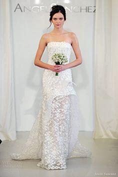 angel sanchez bridal 2014 strapless floral wedding dress peplum