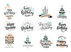 vector illustration of happy birthday badge set. design element for greeting cards banner print with lettering typography text sign quote cake candle gift balloon isolated on white background Happy Birthday For Her, Happy Birthday Signs, Happy Birthday Printable, Birthday Quotes, Birthday Ideas, Happy Birthday Greeting Card, Diy Birthday, Birthday Gifts, Birthday Badge