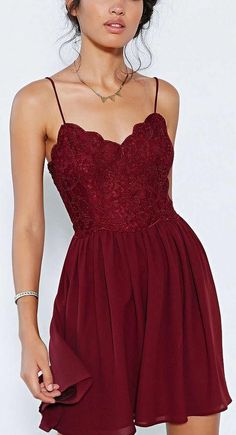 Dark Red Cocktail Dresses Spghetti Sleevless Backless Chiffon Mini Party Dresses Lace Short Prom Dresses 2015 Summer Dresses
