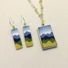 Mountain Scene Art Jewelry Set, Polymer Clay Cane Work, Beaded Necklace & Earrings