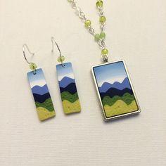 Mountain Scene Art Jewelry Set, Polymer Clay Cane Work, Beaded Necklace & Earrings