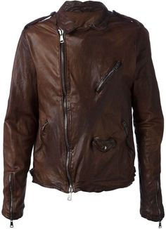 Brown Leather Biker Jacket by Giorgio Brato. Buy for $1,192 from farfetch.com