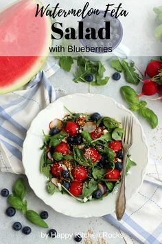Watermelon Feta Salad with Blueberries: 10-min summer salad recipe with Asian-style vinnaigrette. Check the full recipe below and enjoy this summer watermelon radish salad. Vegetarian Main Course, Vegetarian Comfort Food, Vegetarian Recipes Dinner, Vegan Dinners, Vegan Recipes, Feta Salad, Radish Salad, Watermelon And Feta, Happy Kitchen