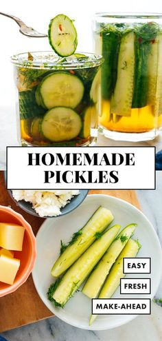 homemade pickles recipe Side Recipes, Whole Food Recipes, Cookie Recipes, Pickles Recipe, Homemade Pickles, Basic Brine, Quick Pickled Radishes, Refrigerator Pickle Recipes, Best Pickles