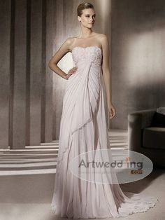 This dress is fit for a goddess to wear indeed. The draping chiffon in an empire cut will reveal the voluptuous curves of a bride on her wedding day. The timid chiffon is the true tool if you prefer to brag about the figure you are proud to show. The ruched bodice enhances the bust making fuller to measure up to the skirt. $159.99