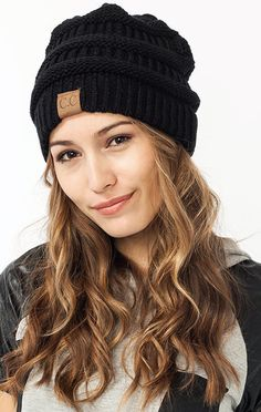 """- Stay Cozy in this ultra luxe and lightweight richly textured CC knit beanie. Made in the USA and from 100% extremely soft acrylic - Approx. 9.5"""" diameter, 8""""length - One Size Fits Most"""