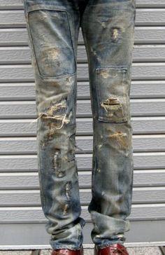 拡大イメージ表示 Nudie Jeans, Denim Jeans Men, Patch Pants, Patchwork Jeans, Destroyed Jeans, Denim Outfit, Boro, Hippie Bohemian, Vintage Denim