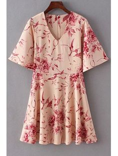 Floral V Neck Half Sleeve Flare Dress COLORMIX: Print Dresses | ZAFUL