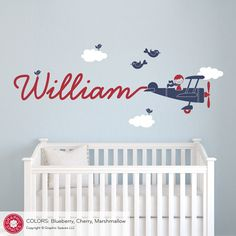 Airplane Wall Decal Boy Name Skywriter for by graphicspaces