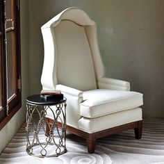 Grand Bonnet Ivory Leather Lounge Chair, sharing beautiful designer home decor inspirations: luxury living room, dinning room  bedroom furniture, chandeliers, table lamps, mirrors, wall art, decorative tabletop  bathroom accents  gifts courtesy of http://instyle-decor.com Beverly Hills enjoy  happy pinning
