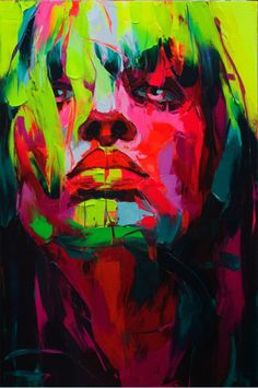 Francoise Nielly is the canvas painter who creates this amazing colorful and massive portraits. The French artist paints with oils and her palette knife to portray exotic faces from black and white photos. Is very interested watch her create them in this video posted on her site.