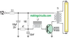 The first circuit of a 40 watt fluorescent emergency lamp is centered around the theory of oscillating on the primary of a transformer to accomplish a Electronic Circuit Projects, Electronic Engineering, Electronics Projects, Inverter Welder, Solar Inverter, Joule Thief, Switched Mode Power Supply, Simple Circuit, Induction Heating