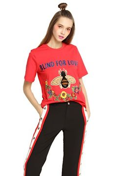EileenElisa Fashion Red Cotton TShirt for Women Summer with Bee And Letter *** To view further for this item, visit the image link.