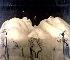 Winter Night in the Mountains / Harald Sohlberg, 1921