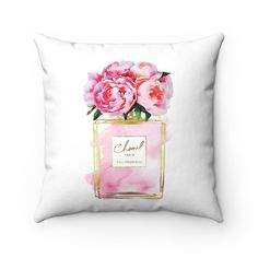 Perfume Pink Peony Peonies Square Pillow with filling fashion feature dorm room bedroom g Pink Peonies, Peony, Pink Perfume, 19 Days, Makeup Rooms, Organic Beauty, Pillow Inserts, Dorm Room, Eye Makeup