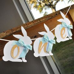 Peter Rabbit One Highchair Banner. One Bunny Banner. Baby Blue Some Bunny is One Party Decorations.