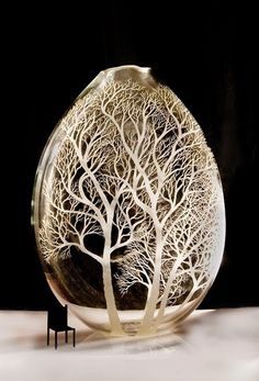 Kayo Yokoyama - glass sculptures engraved with trees ::: She draws her inspiration from the Blackheath in the Blue Mountains, Australia where she lives.