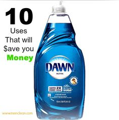Dawn Dish Soap is a time saver and money saver. I never knew. Men clean with Dawn Household Cleaning Tips, Diy Cleaning Products, Cleaning Solutions, Cleaning Hacks, Cleaning Supplies, Household Cleaners, Household Products, Cleaners Homemade, Diy Cleaners