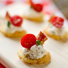 Asiago BLT Bites Recipe Appetizers with cream cheese, mayonnaise, salt, pepper, cooked bacon, parmesan cheese, asiago, cherry tomatoes, chives