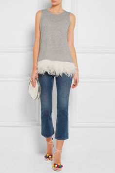 Gray cashmere, ivory silk Slips on  Fabric1: 100% cashmere; fabric2: 100% silk; trim: 100% feathers (Ostrich)   Hand wash or dry clean