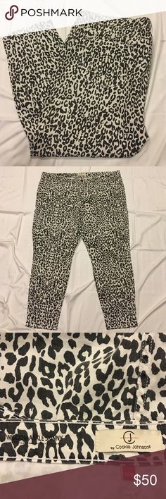 CJ by Cookie Lee Plus size leopard skinny jeans 20 In like new condition! Leopard print wisdom ankle skinny jeans from CJ by cookie Johnson. Size 20w. Originally purchased from Nordstrom. 72% cotton 15% rayon 12% polyester and 1% spandex. Waist is 21.5 and inseam is 27.25 inches. CJ by Cookie Johnson Jeans Ankle & Cropped