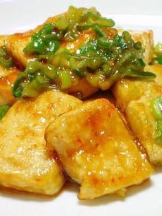 Deep fried glased tofu - yummy! (甘辛♡こってり♡豆腐ステーキ)