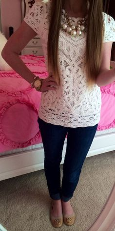 Wear pearls with the new cream lace inset shirt I just got from Ann Taylor.