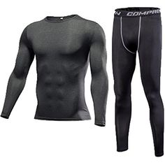 cb1076f48 1Bests Men's Running Fitness Elastic Slim Compression Base Layer Long  Sleeve Top #TeamSports