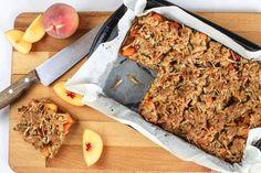 This quick recipe turns a delicious peach crumble into a slice that's perfect for lunch boxes and afternoon tea. Using dried fruit, you don't have to wait for summer before you can enjoy the yummy flavour of this peach slice. Fruit Whip, Eat Fruit, Lunch Box Recipes, Baby Food Recipes, Lunchbox Ideas, Recipe For 4, Recipe Using, Muesli Slice, No Bake Slices