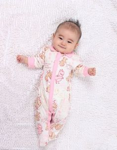 Unisex Baby Cartoon Footed Rompers Lapel Design Long Sleeve 0-24 Months