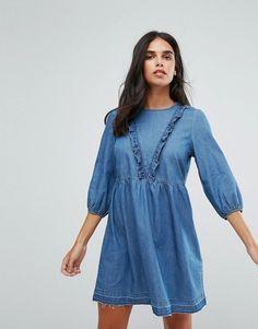 Only Frill Detail Chambray Skater Dress - Blue