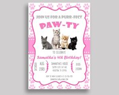 Cat Birthday Invitation Cat Birthday Party Invitation Cat Birthday Party Cat Invitation Girl kitten paw, kitty, digital download INHA8 #birthdayInvitations #birthdayParty #birthdayPartyInvitations