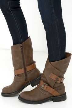 Coffee Brown Mid-Calf Boots. Loving the strappy buckles