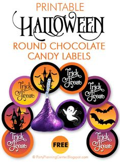 """FREE Printable DIY Round Halloween Chocolate Labels 