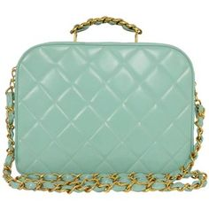 Chanel Vintage Teal Quilted Patent Vanity Crossbody Bag GHW