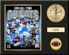 Detroit Lions All Time Greats Team Composite Photo Inserted In A Gold Slide In Frame & Mounted On A Plaque With Arabic Clock & Nameplate-Awesome & Beautiful-Must For Any Fan! Art and More, Davenport, IA http://www.amazon.com/dp/B00GMAU5PM/ref=cm_sw_r_pi_dp_n2BHub1ZXCWQE