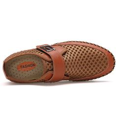 6cd5c2694d3395 Men Hook-loop Cellular Mesh Fabric Breathable Soft Ourdoor Causal Shoes