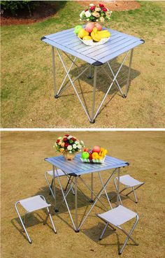 Outdoor Folding Tables and Chairs Aluminum Table,