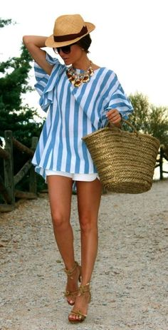 Resort wear! Aqua & white vertical striped tunic style short sleeved, white shorts, gold sandals and beach bag. Straw fedora. Stitch fix #sponsored SIGN UP TODAY & ask your personal stylist (for $20) for items like these.