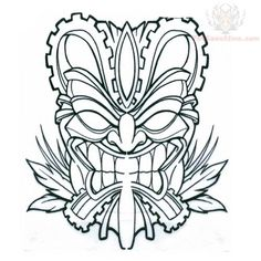 outline in color masks japanese Tiki Mask Tattoo On Biceps Tiki Tattoo, Dibujos Tattoo, Desenho Tattoo, Tiki Maske, Warrior Symbols, Elephant Coloring Page, Tiki Head, Shetland, Tribal Elephant