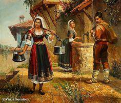НА ЧЕШМАТА маслени бои, платно Васил Горанов