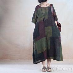 Half sleeve linen A line maxi dress long paid summer holiday dress casual clothing-will be available soon