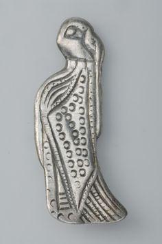 Pendant, Valkyrie Female figurineSilverFindspot: Sibble, Grödinge, Södermanland, Sweden The figurine portrays a female figure interpreted as a Valkyrie