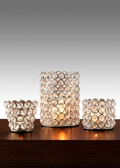 Sparkly crystal bead tea light & votive candle holders