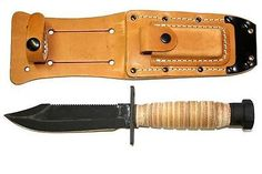 ONTARIO 499 AIR FORCE PILOT SURVIVAL KNIFE USA BLADE WITH LEATHER SHEATH & STONE