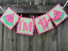 Pink and Green Watermelon Highchair Banner by LemonSugarStudios, $10.00
