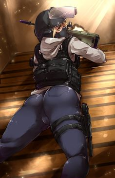 1girl ass assault_rifle ayyh blonde_hair bullpup gun h&k_usp handgun heckler_&_koch highres looking_at_viewer looking_back monika_weiss operator pistol rainbow_six rainbow_six_siege rifle solo steyr_aug weapon yellow_eyes