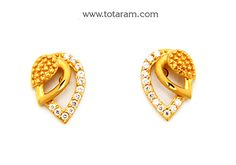 Gold Earrings for Women in Gold with Cz - - Indian Jewelry from Totaram Jewelers Jewelry Design Earrings, Gold Earrings Designs, Gold Jewellery Design, Diamond Jewelry, Gold Jewelry, Gold Earrings For Women, Gold Pendent, Simple Earrings, Jewelry Patterns